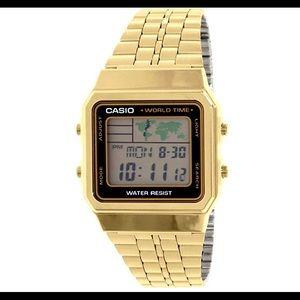 Casio gold world time digital watch unisex